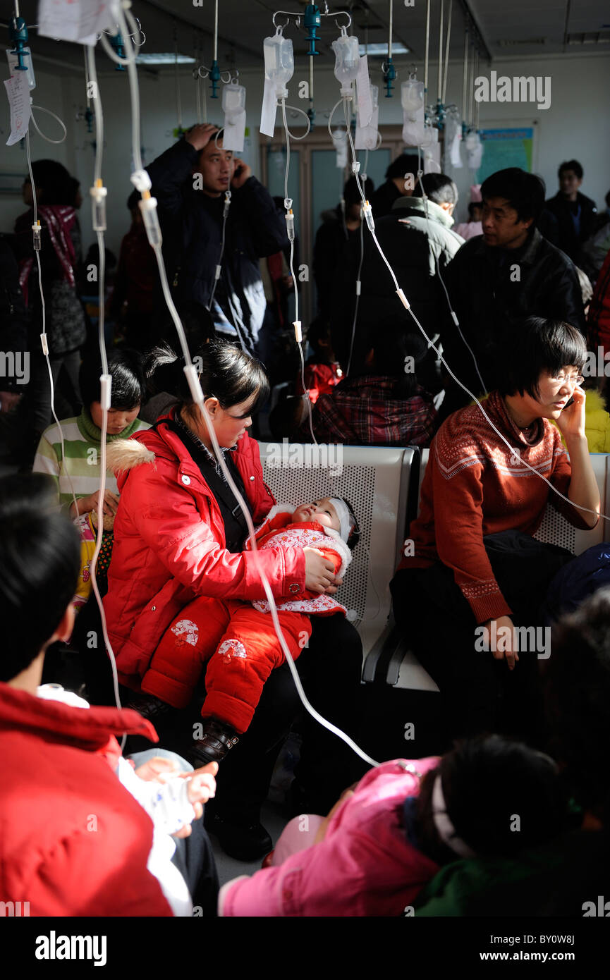 Chinese children receive transfusion at Children's Hospital in Beijing, China.12-Jan-2011 - Stock Image