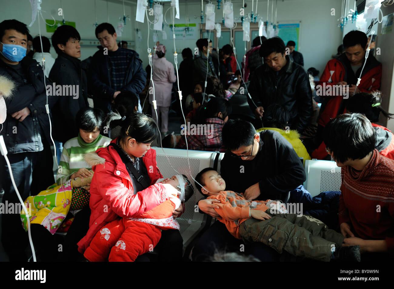 Chinese children receive transfusion at Children's Hospital in Beijing, China.12-Jan-2011 Stock Photo