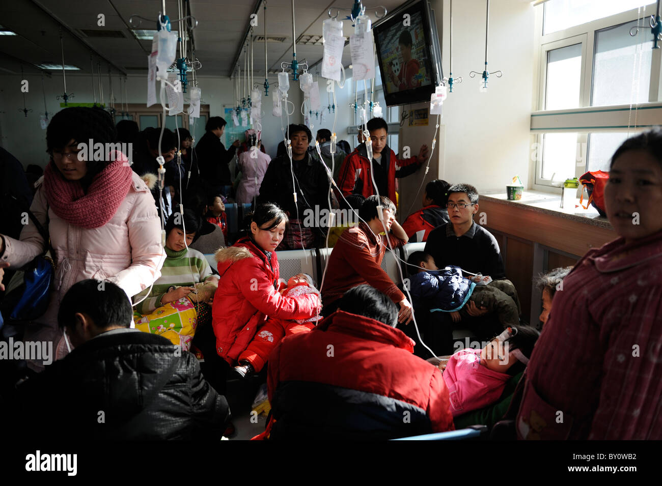 Chinese children receive transfusion at Children's Hospital in Beijing, China.12-Jan-2011 Stock Photo