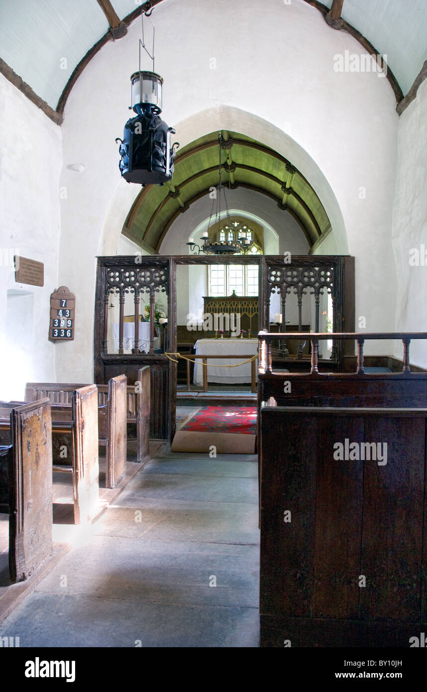 Interior of Culbone church near Porlock on the South West coast path Exmoor said to be the smallest complete parish - Stock Image
