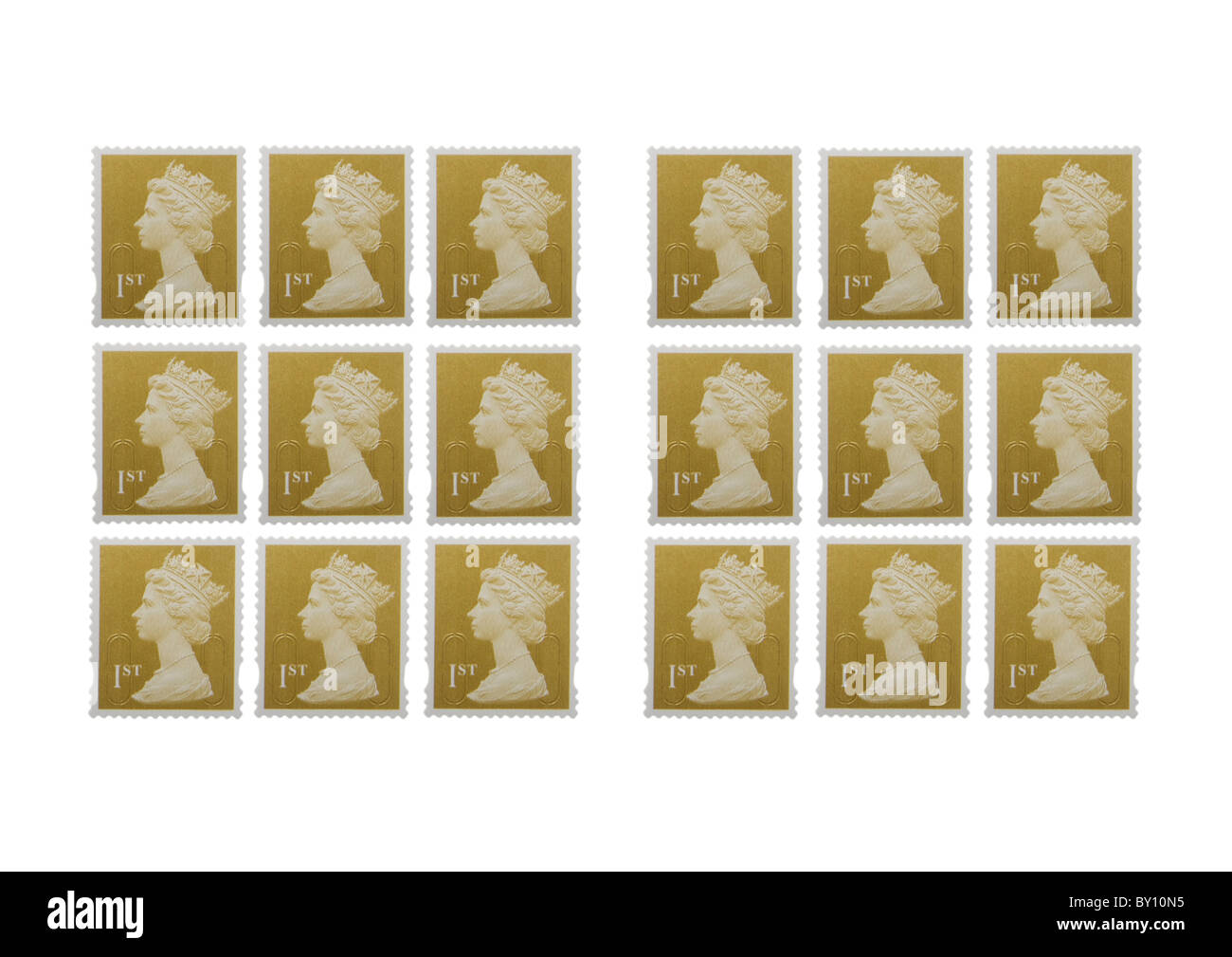 First class stamp on white background - Stock Image