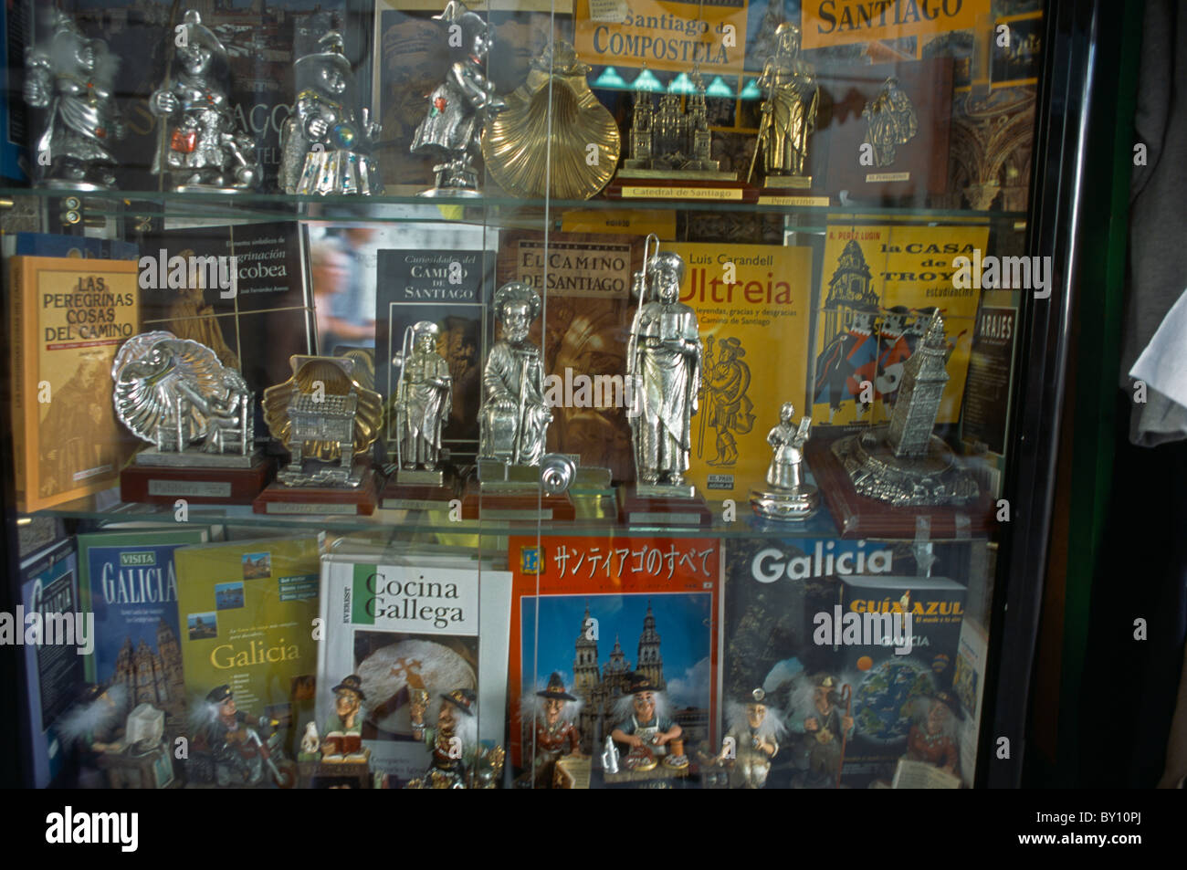 Galicia Spain Santiago De Compostela Figurines Of Saint James The Greater And Other Religious Artefacts In Shop - Stock Image