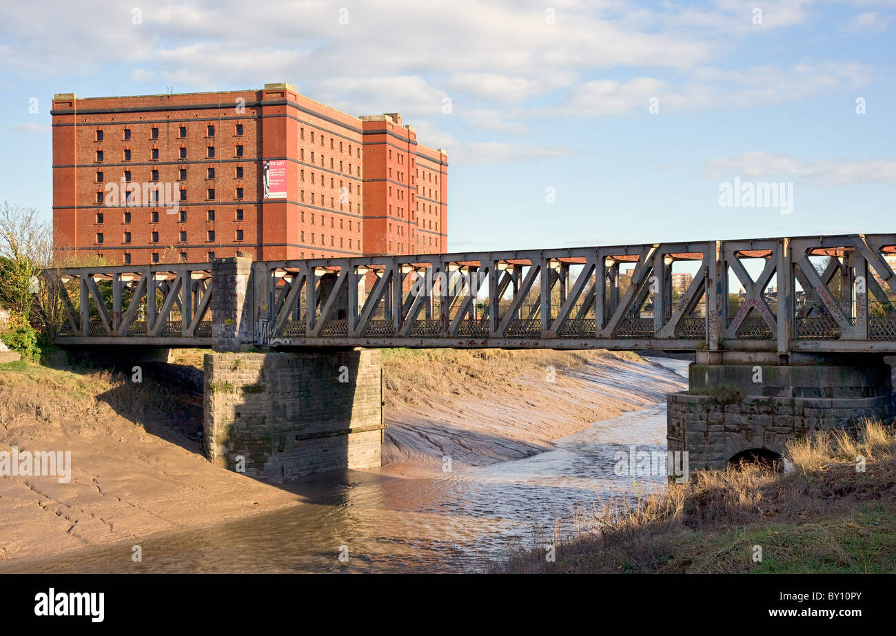 Disused rail bridge over the river Avon with old bond warehouse now housing Create Centre and Bristol Records Office - Stock Image
