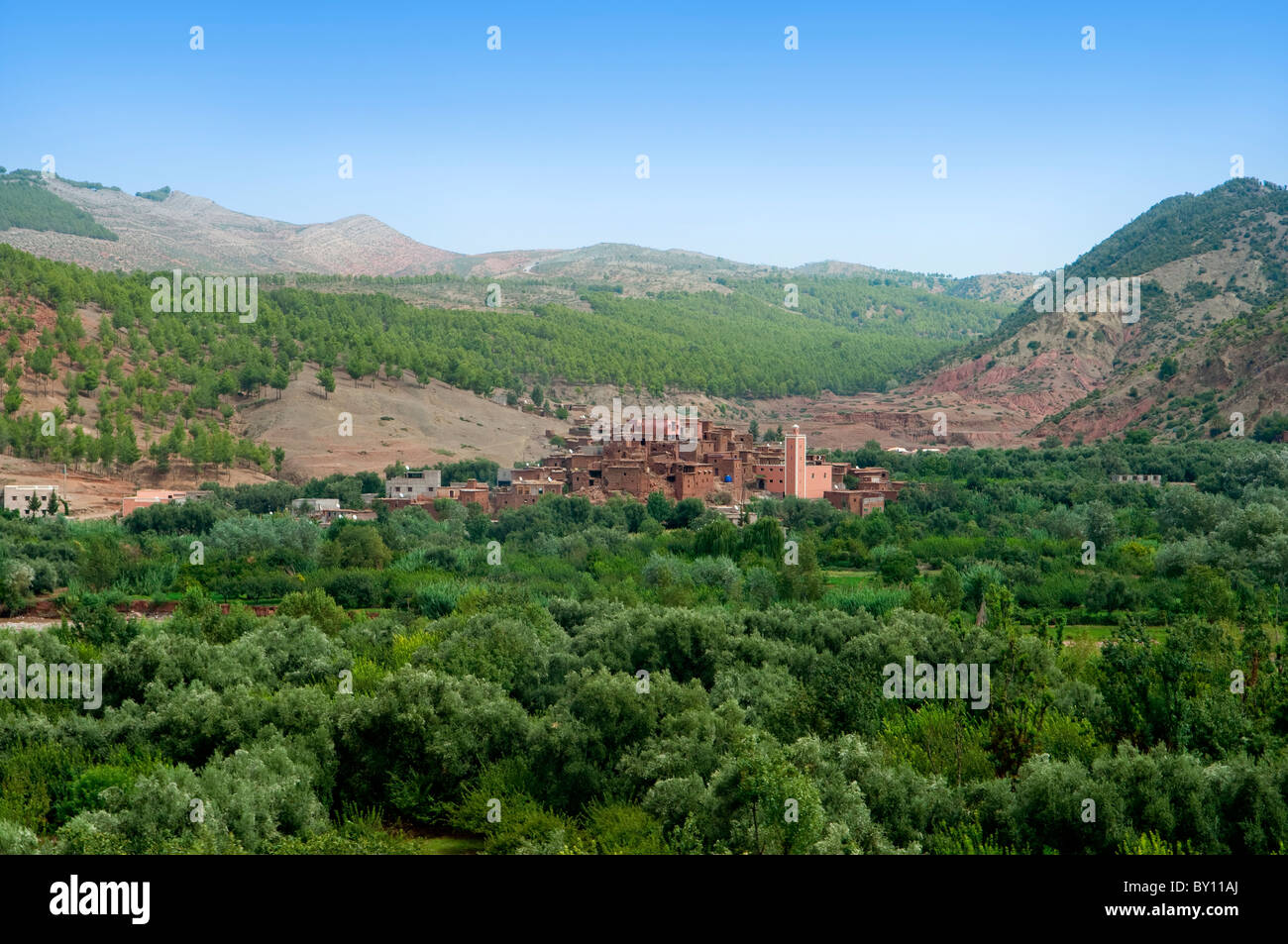 A small Casbah Berber village in the Ourika Valley in the Atlas Mountains of Morocco. - Stock Image