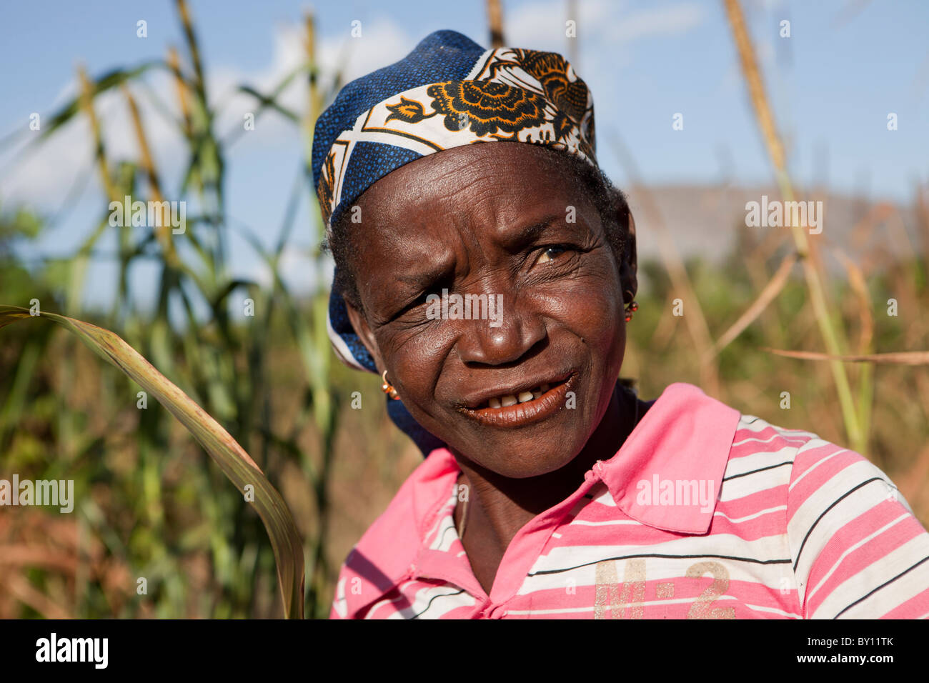 MECEBURI NEAR NAMPULA, MOZAMBIQUE, May 2010: Adrina Veleke, a farmer and single mother, with her millet crop beside - Stock Image