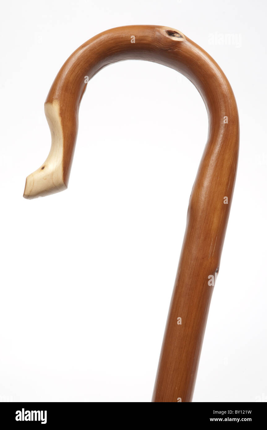 Beech wood shepherds crook., walking stick. - Stock Image