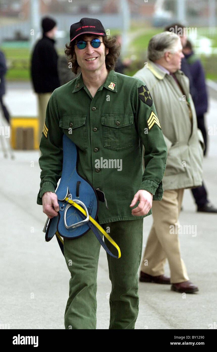 Amateur jockey Gary Gibson in his John Lennon look-a-like pose at Dunstall Racecourse 1/2/00 - Stock Image