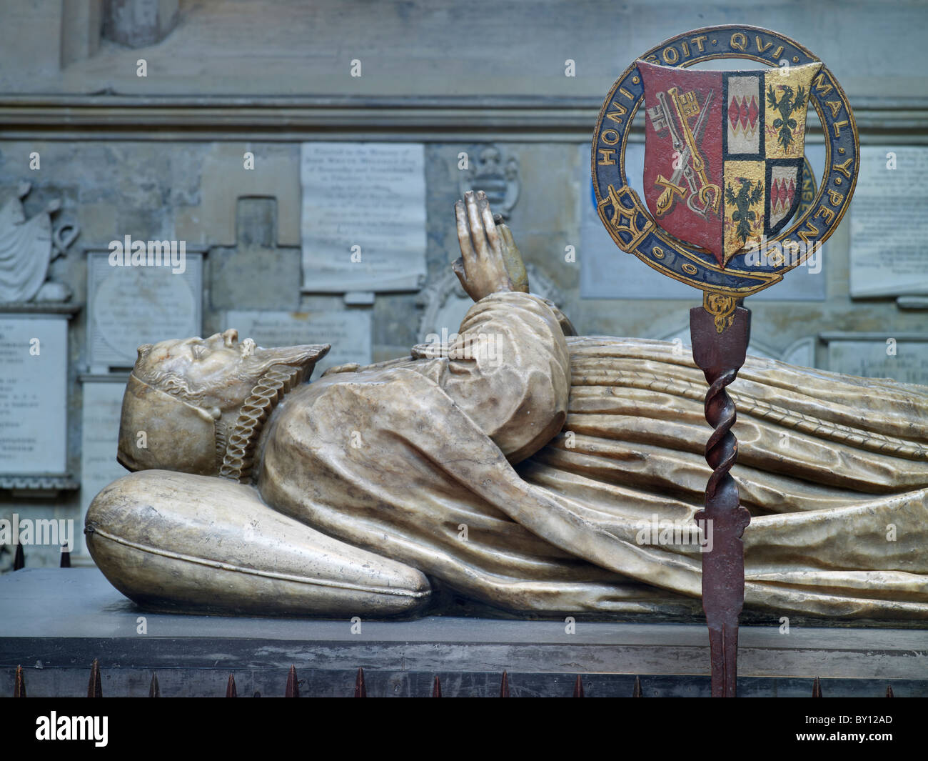Bath Abbey, monument and effigy of James Montagu, died 1618, Bishop of Bath and Wells - Stock Image