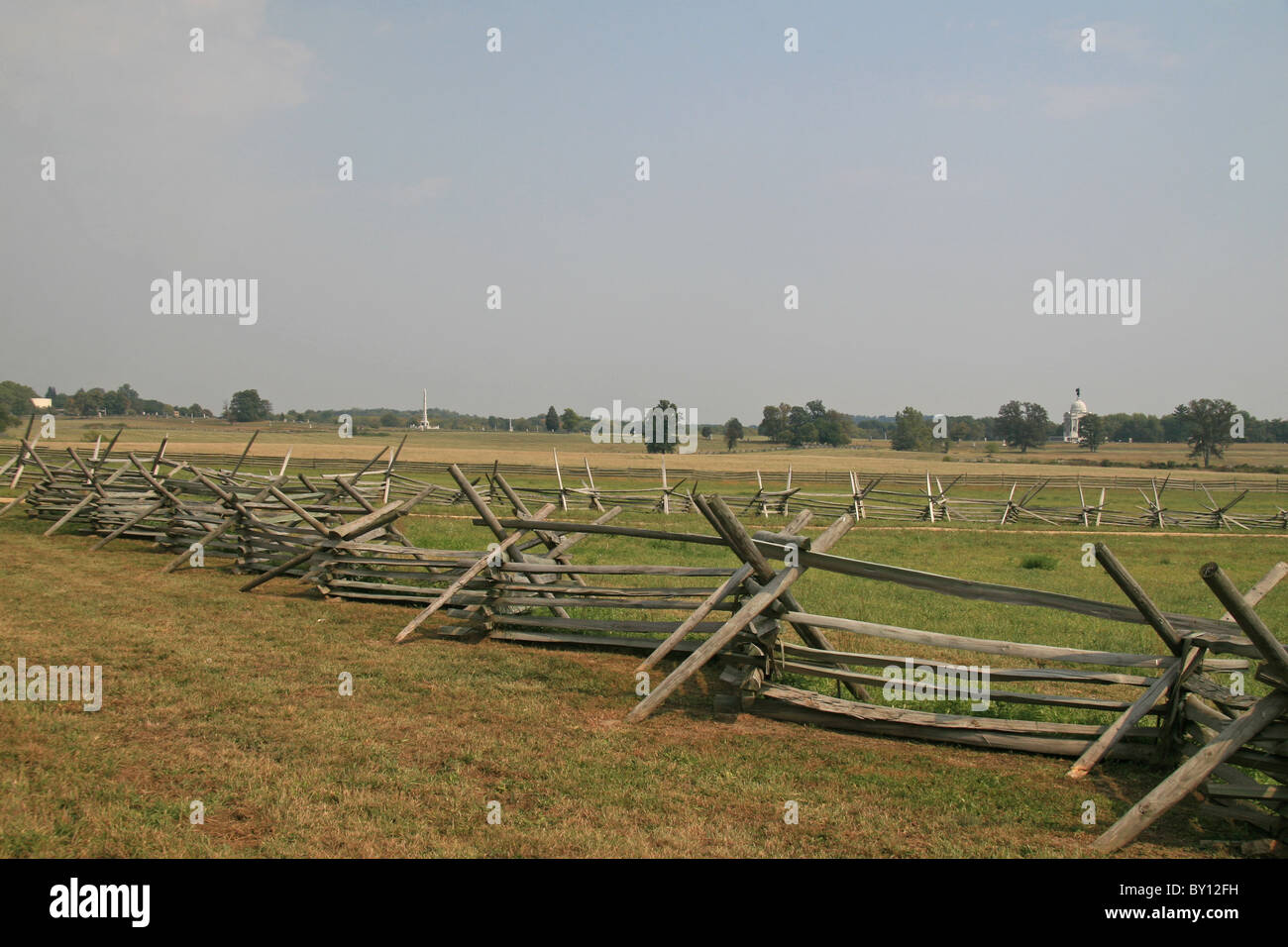 View along fence line across the Picketts Charge area of the Battle of Gettysburg, Gettysburg National Military - Stock Image