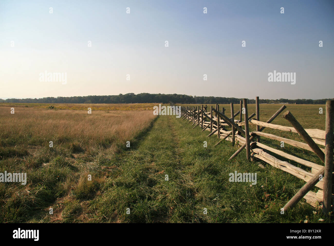 View towards Seminary Ridge across the Picketts Charge area of the Battle of Gettysburg, Gettysburg National Military - Stock Image
