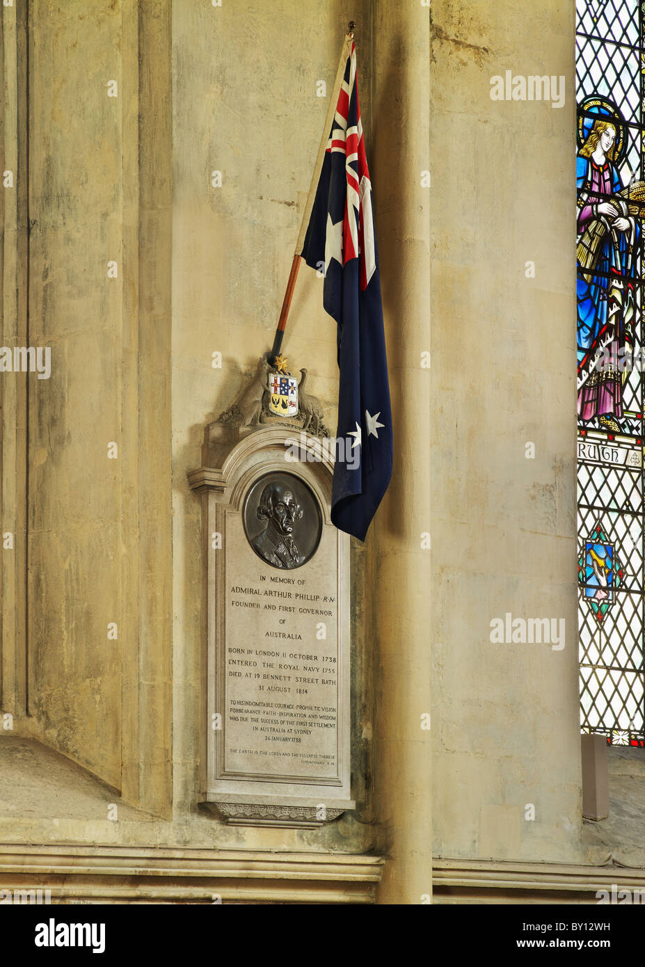 Bath Abbey, memorial plaque to  Admiral Arthur Phillip, died 1814, founder and first Governor of New South Wales - Stock Image