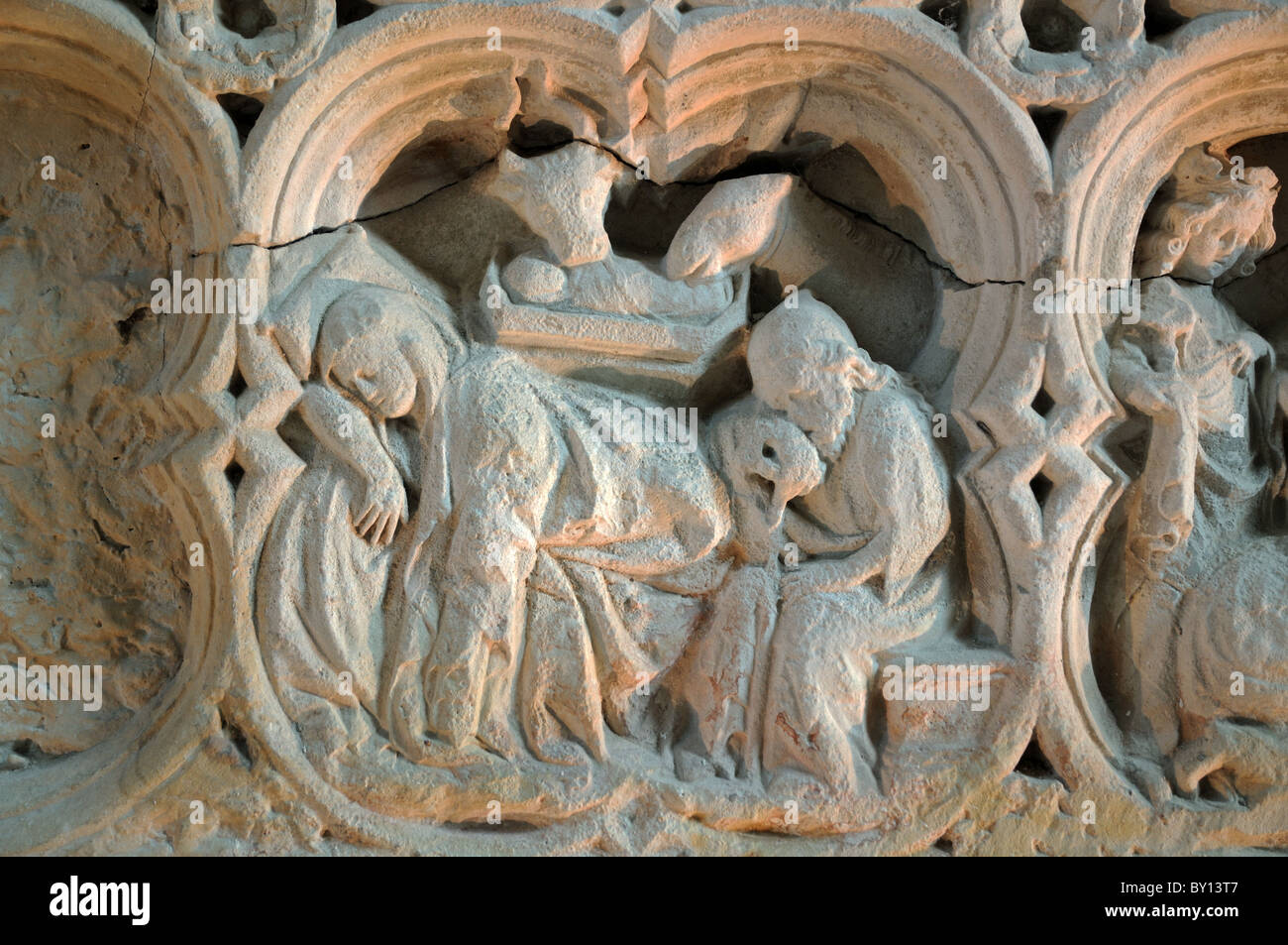 Stone relief carvings in the abbaye de fontenay abbey burgundy