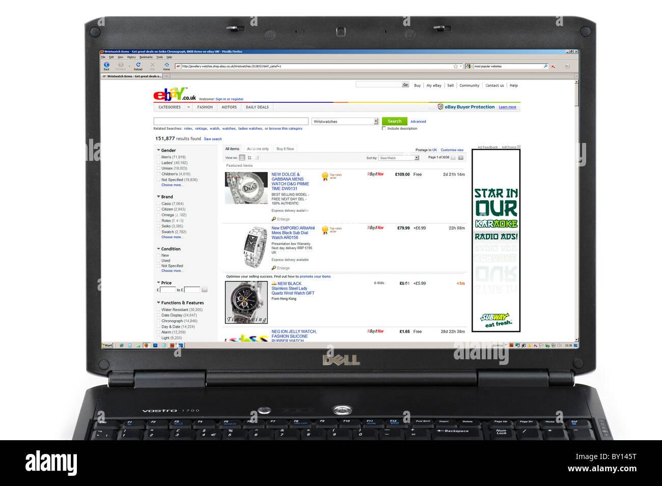 Browsing Ebay Co Uk On A Laptop Computer Uk Stock Photo Alamy