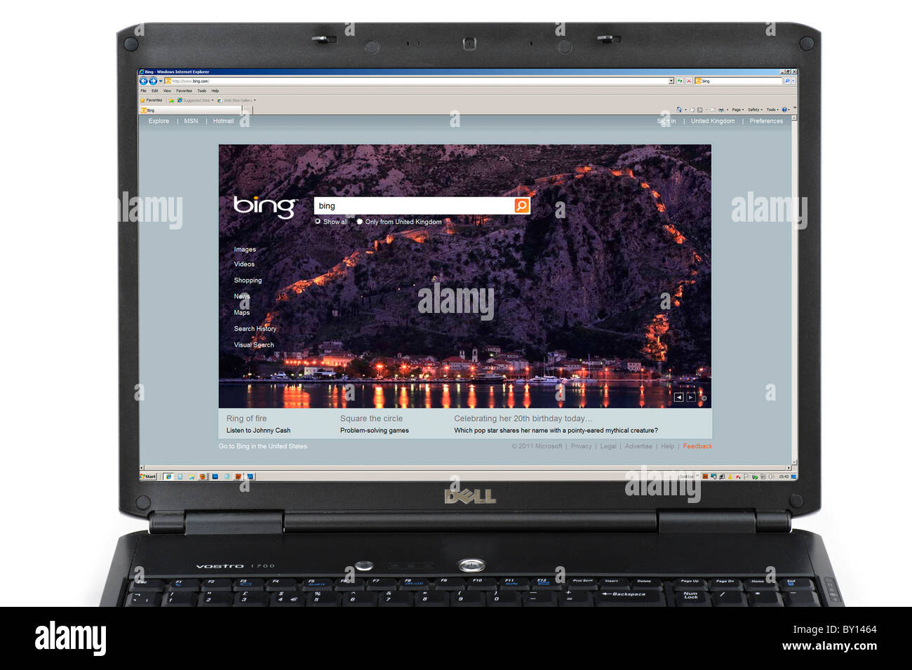 Performing a Bing search on a Laptop Computer, UK - Stock Image