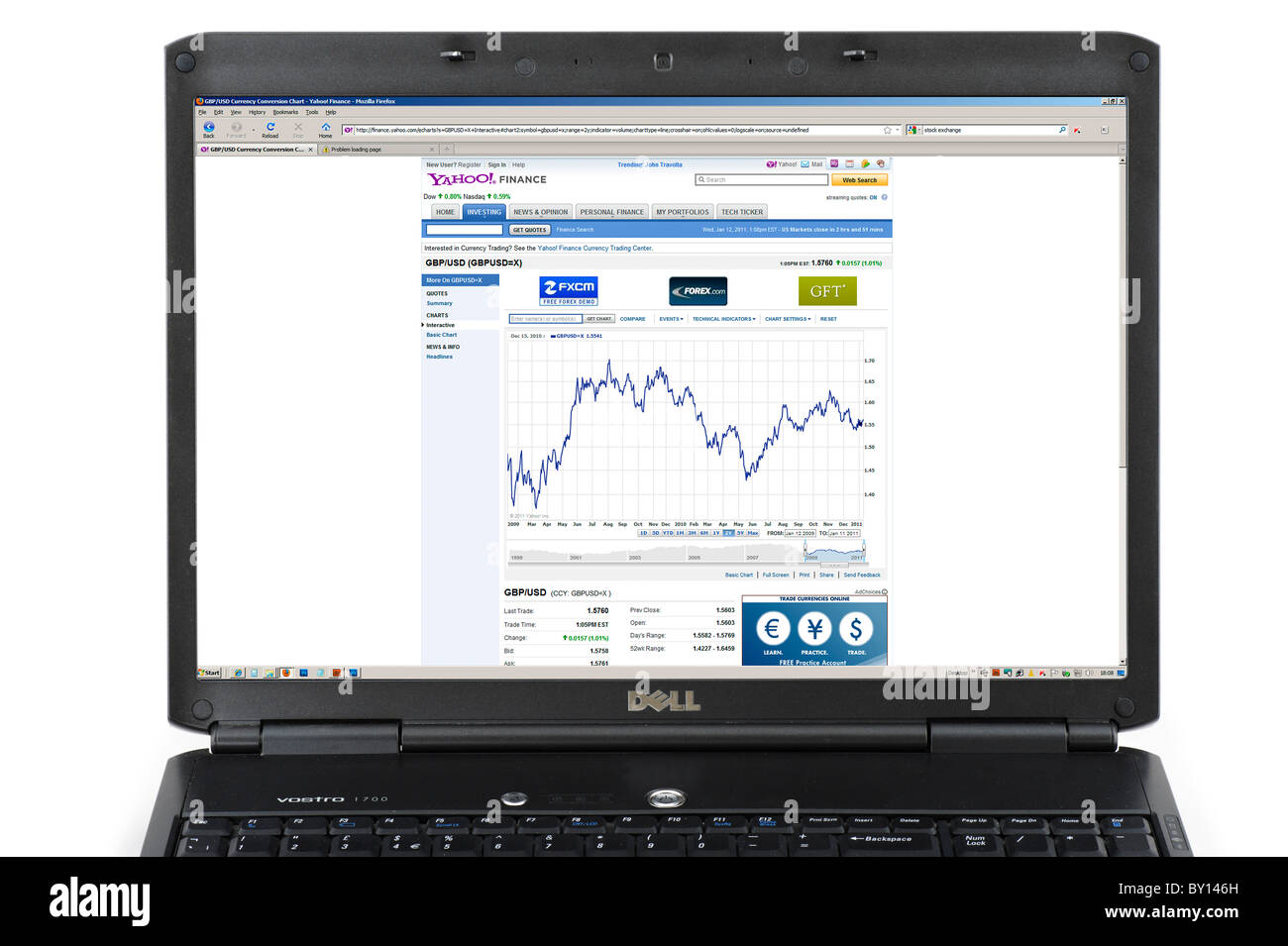 Looking at 2009-2010 2 year history of the British Pound (GBP) against the US Dollar (USD) on the Yahoo Finance - Stock Image
