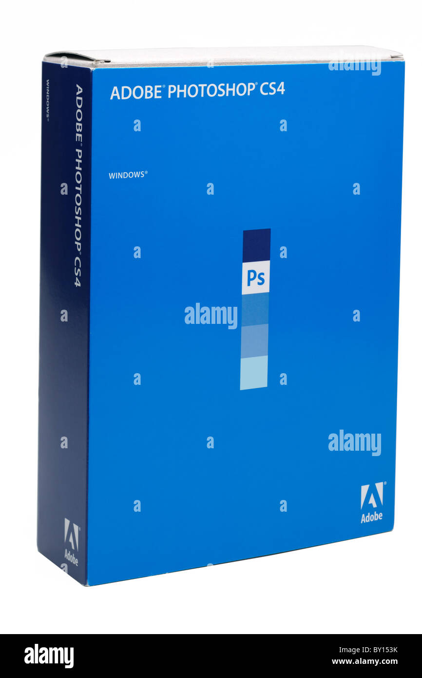 Boxed software Adobe Photoshop CS4 for Windows and Mac.  Editorial use only - Stock Image