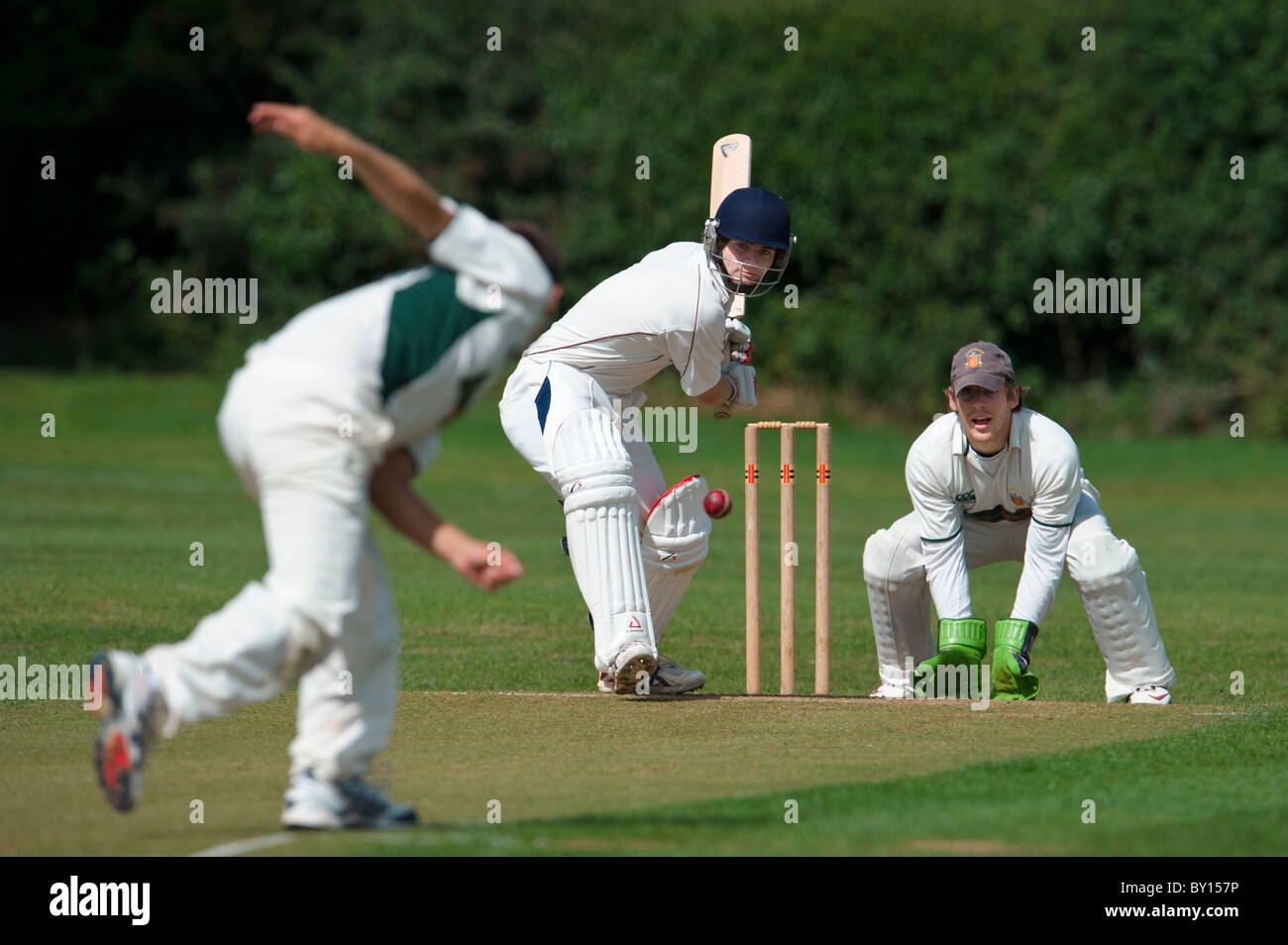 Saturday,28th August 2010. English cricket match, bowler and batsman in action. - Stock Image