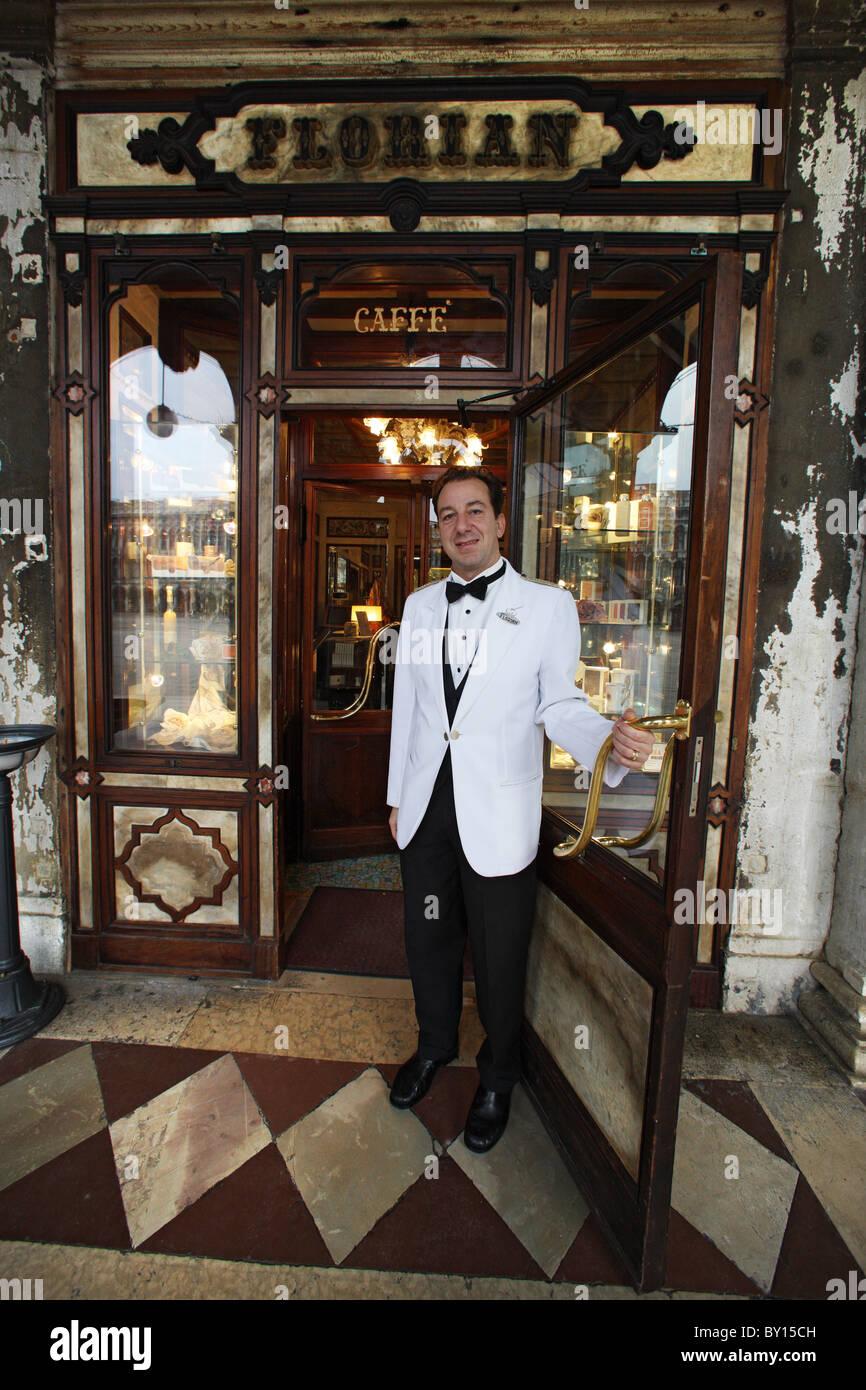 Italien, Venedig, 100126, Cafe Florian, am Markusplatz[ Copyright (c) : - Gerhard Leber Stock Photo