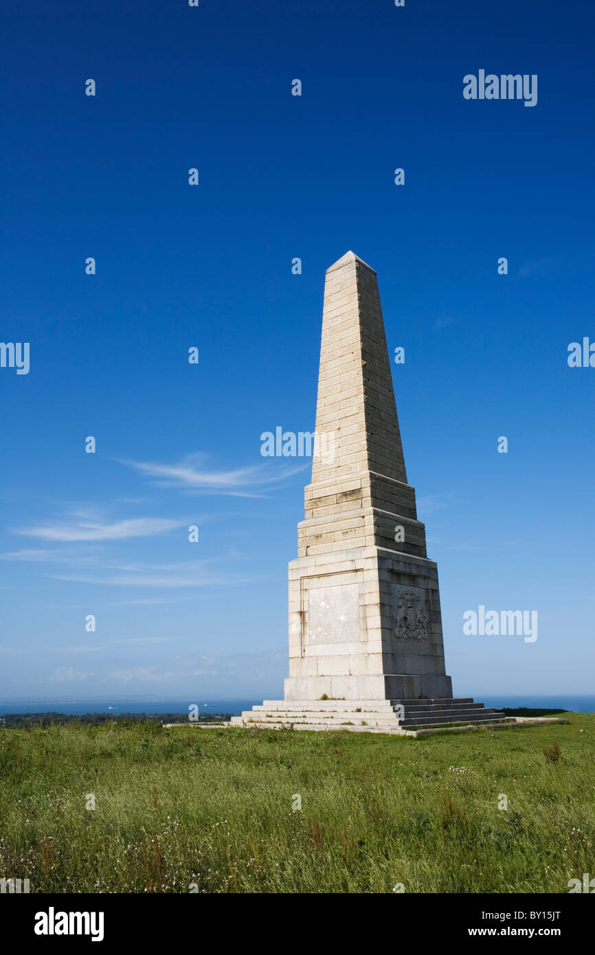 Yarborough Monument, Culver Down, Isle of Wight, Hampshire, England Stock Photo