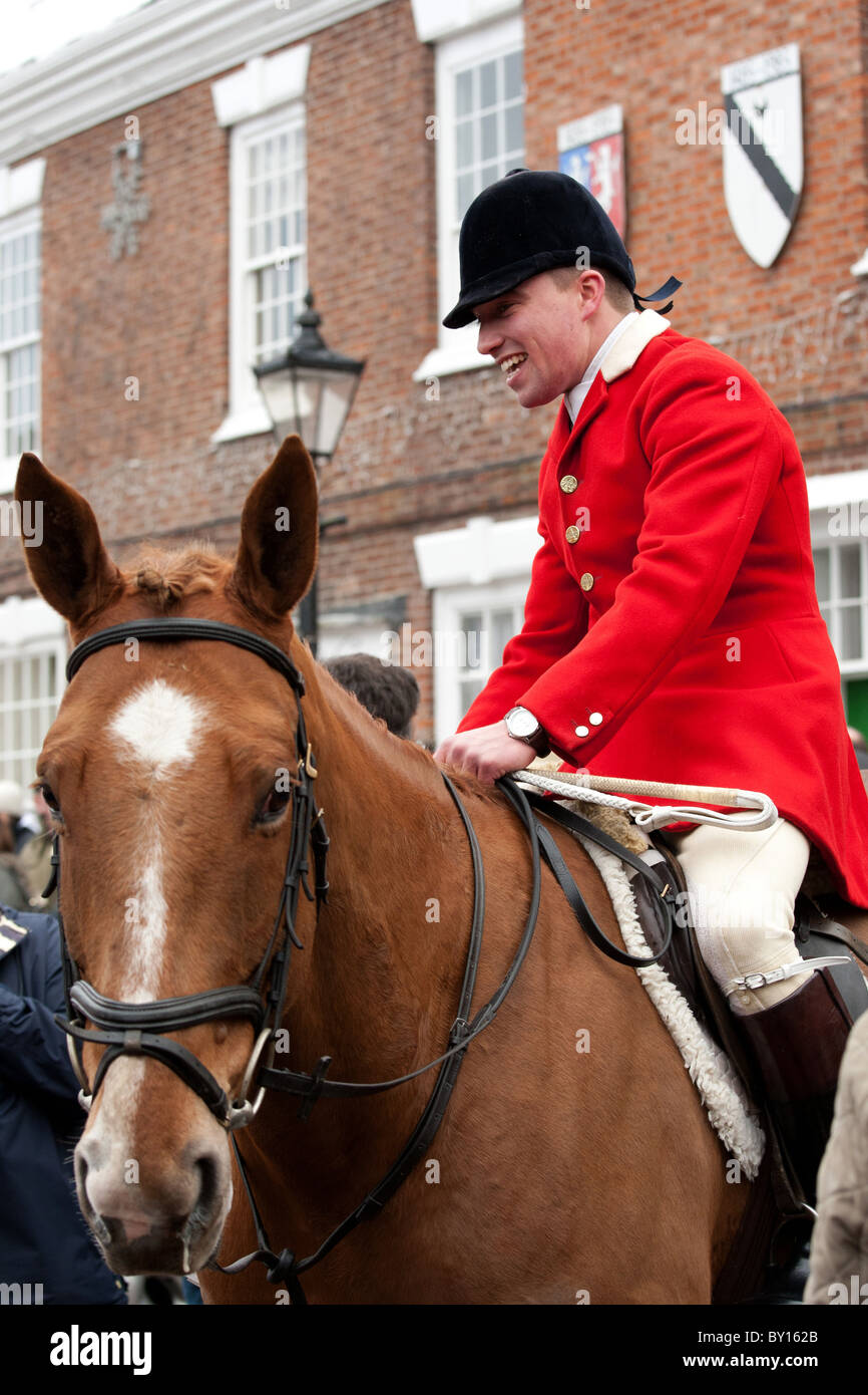 Boxing day Hunt meet at Market Bosworth, Leicestershire. Picture shows Huntsman in Market Square. Stock Photo