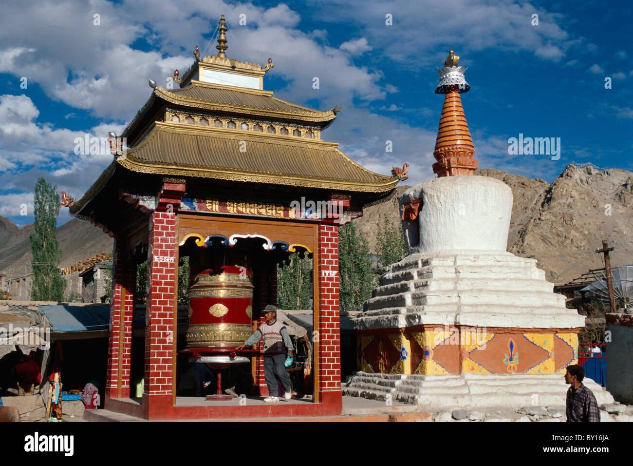 Stupa and prayer wheel in Leh, Ladakh (Jammu+Kashmir), Indiia Stock Photo