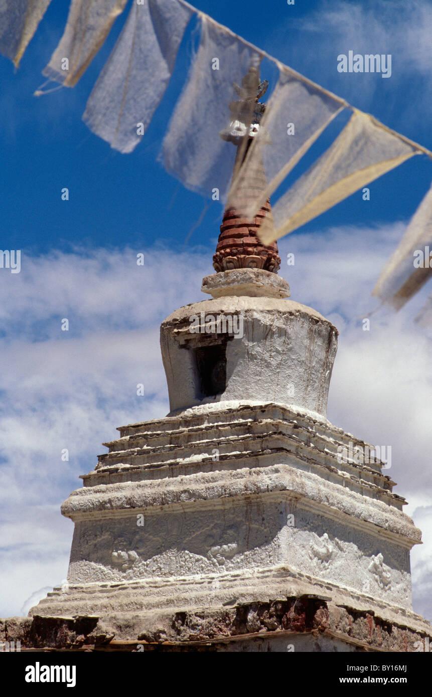 Stupa, Tikse Monastery, Ladakh (Jammu+Kashmir, India Stock Photo