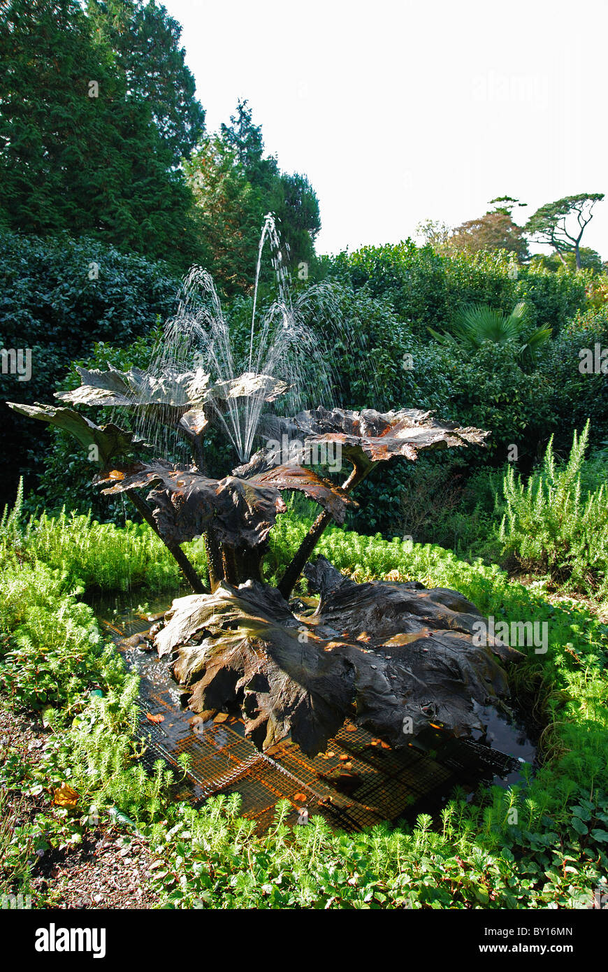 A copper sculptured fountain at Trebah gardens, near Falmouth in Cornwall, UK - Stock Image