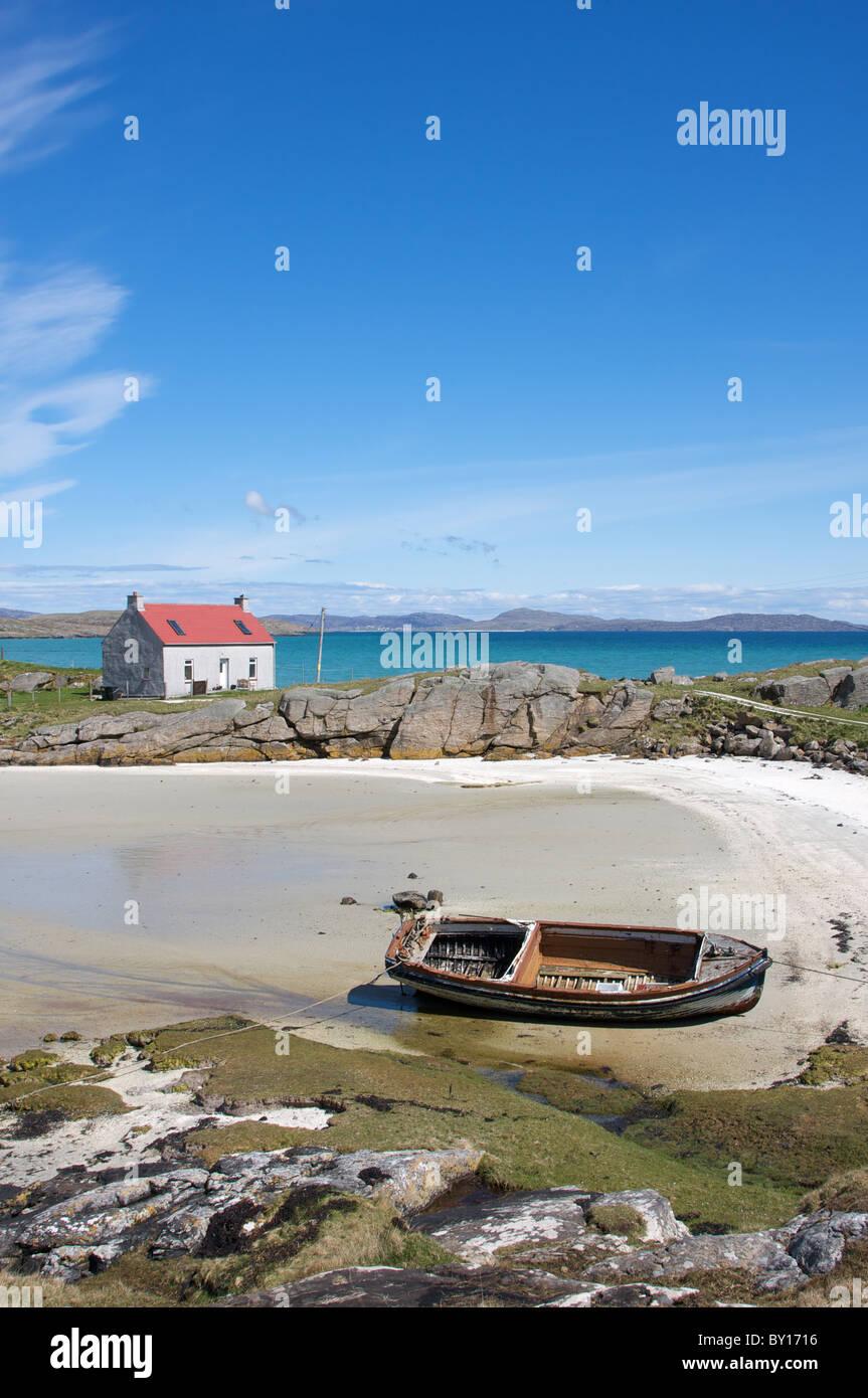 Crannag house, Traigh Mhor (Big Beach), Barra, Outer Hebrides, Scotland, UK - Stock Image