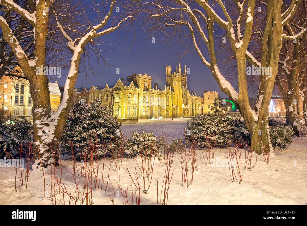 Queen's University Belfast, captured during snow fall. Co Antrim, Northern Ireland. - Stock Image