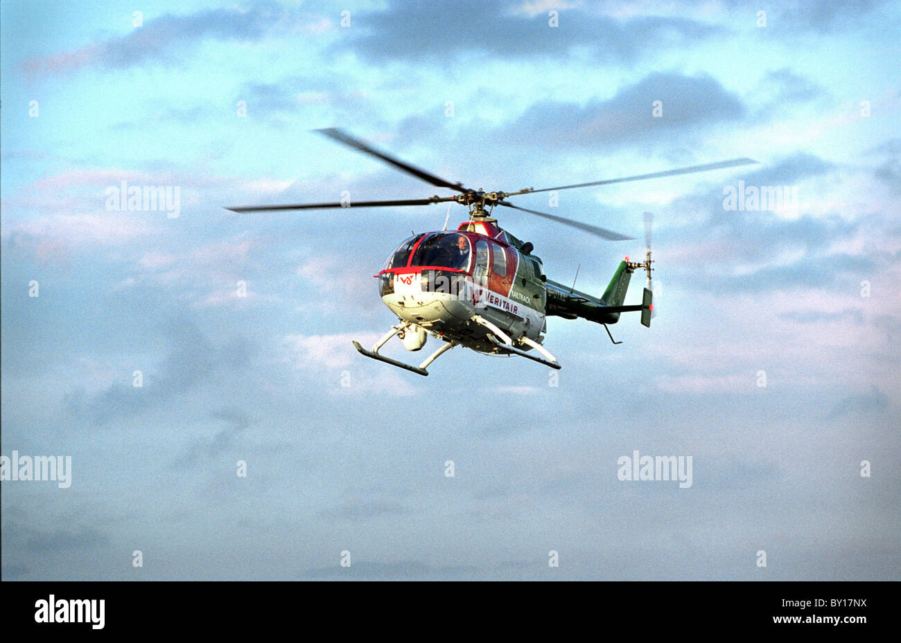 Helicopter, Cardiff Heli-Port. - Stock Image