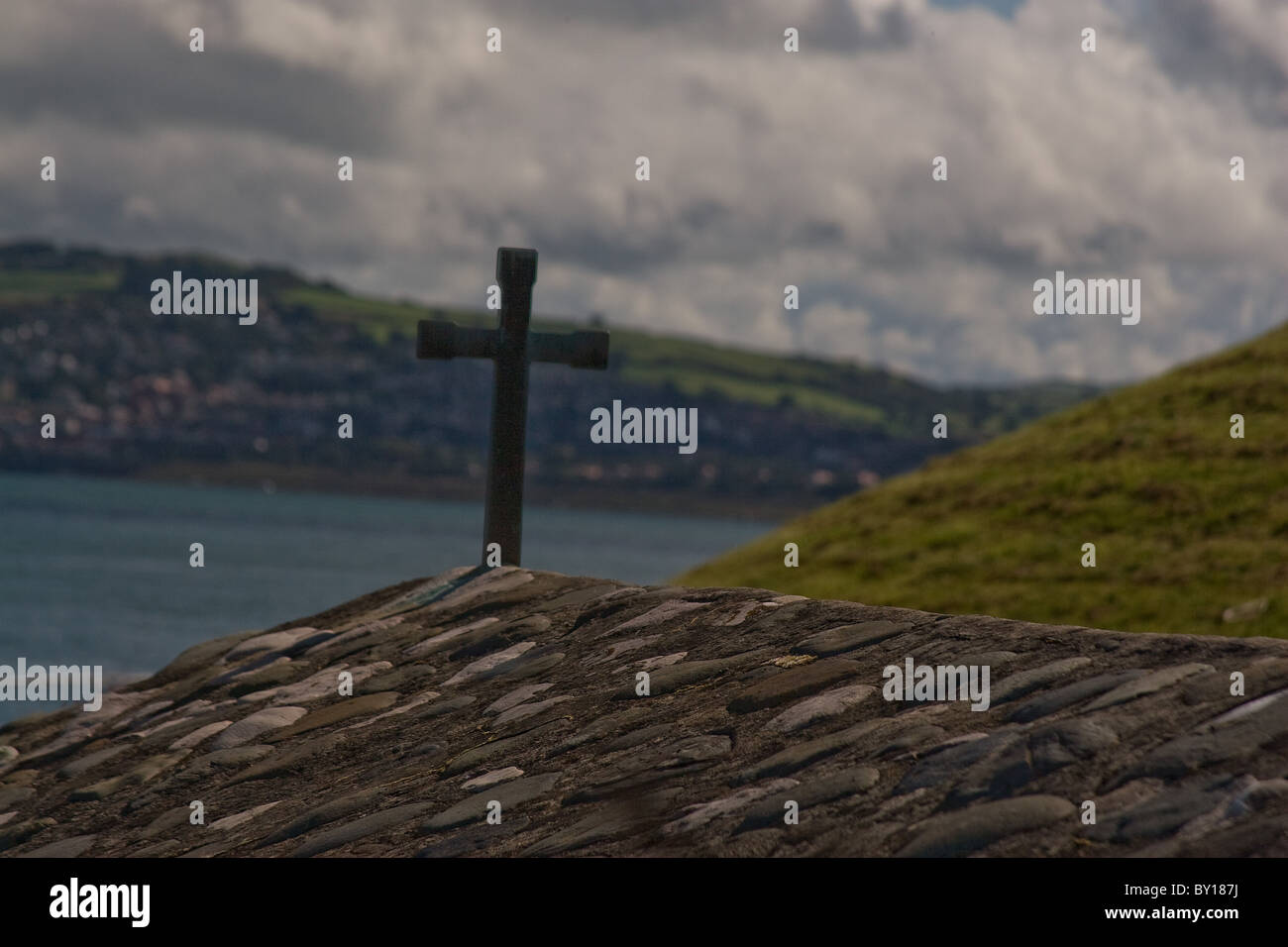 Roof top of St. Trillo's chapel,Rhos-on-Sea North Wales. - Stock Image
