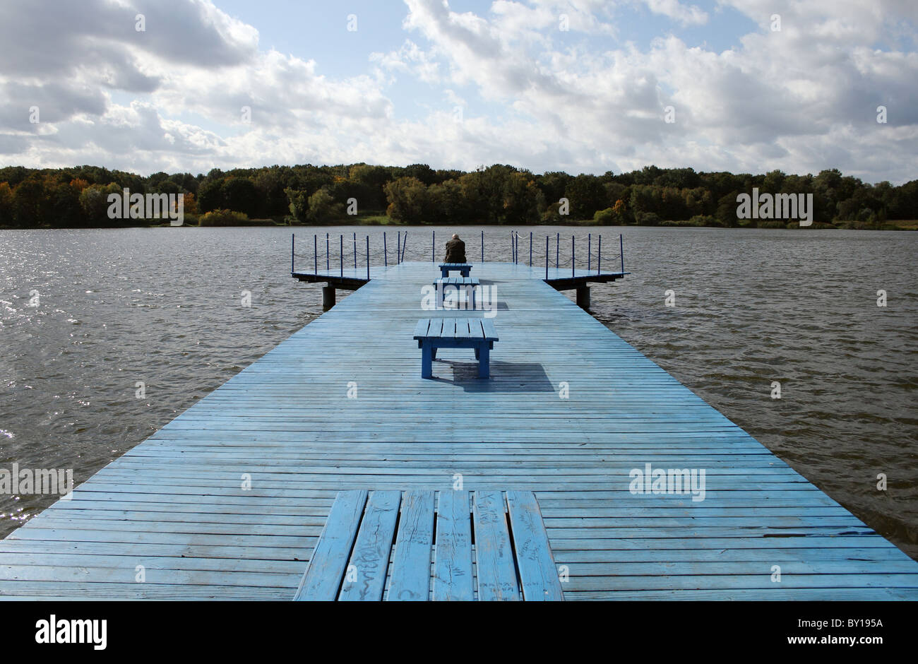 A recreational area on a lake in the city of Poznan, Poland - Stock Image