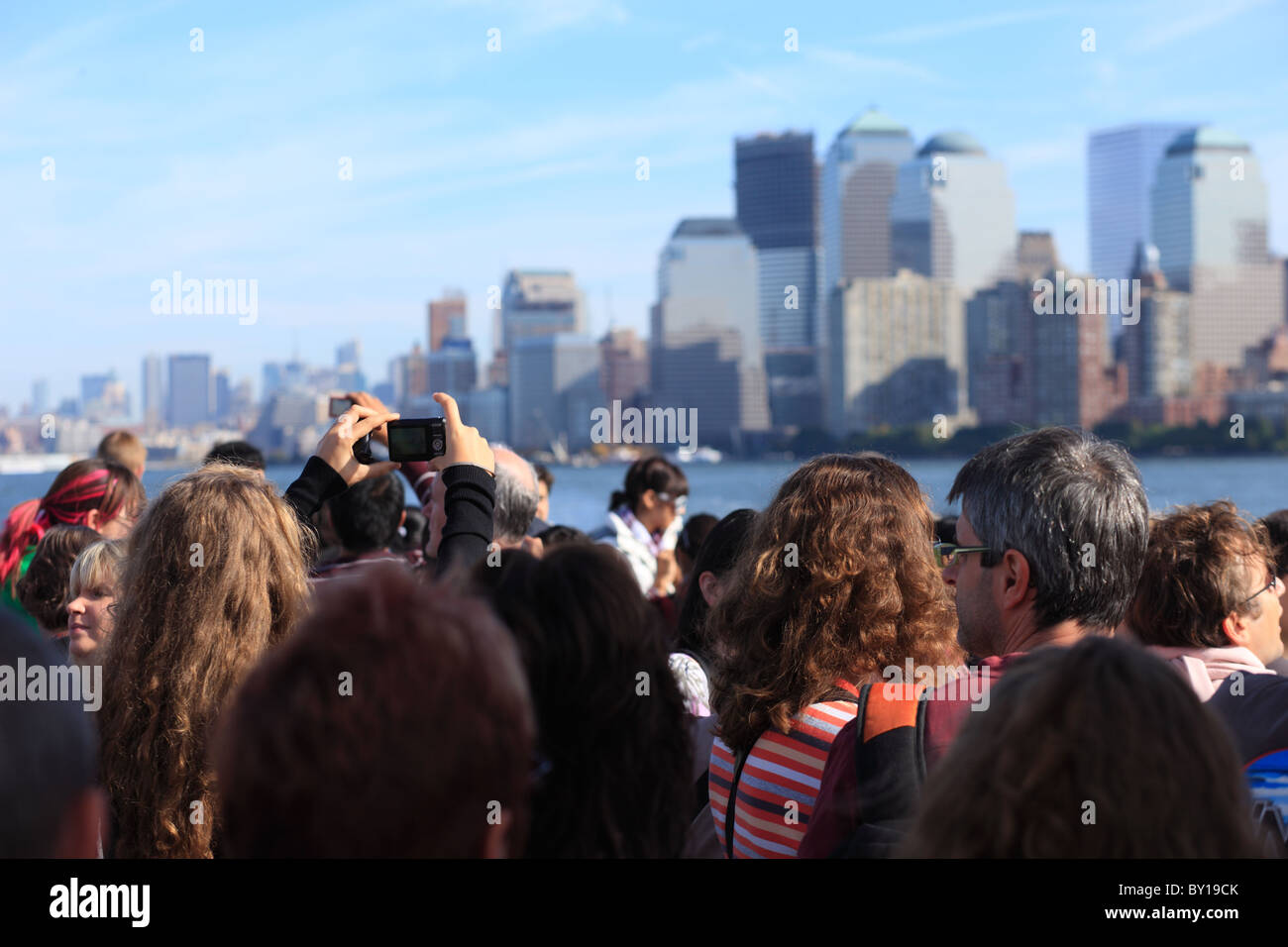 Tourists taking pictures of the skyline, New York City, United States of America Stock Photo