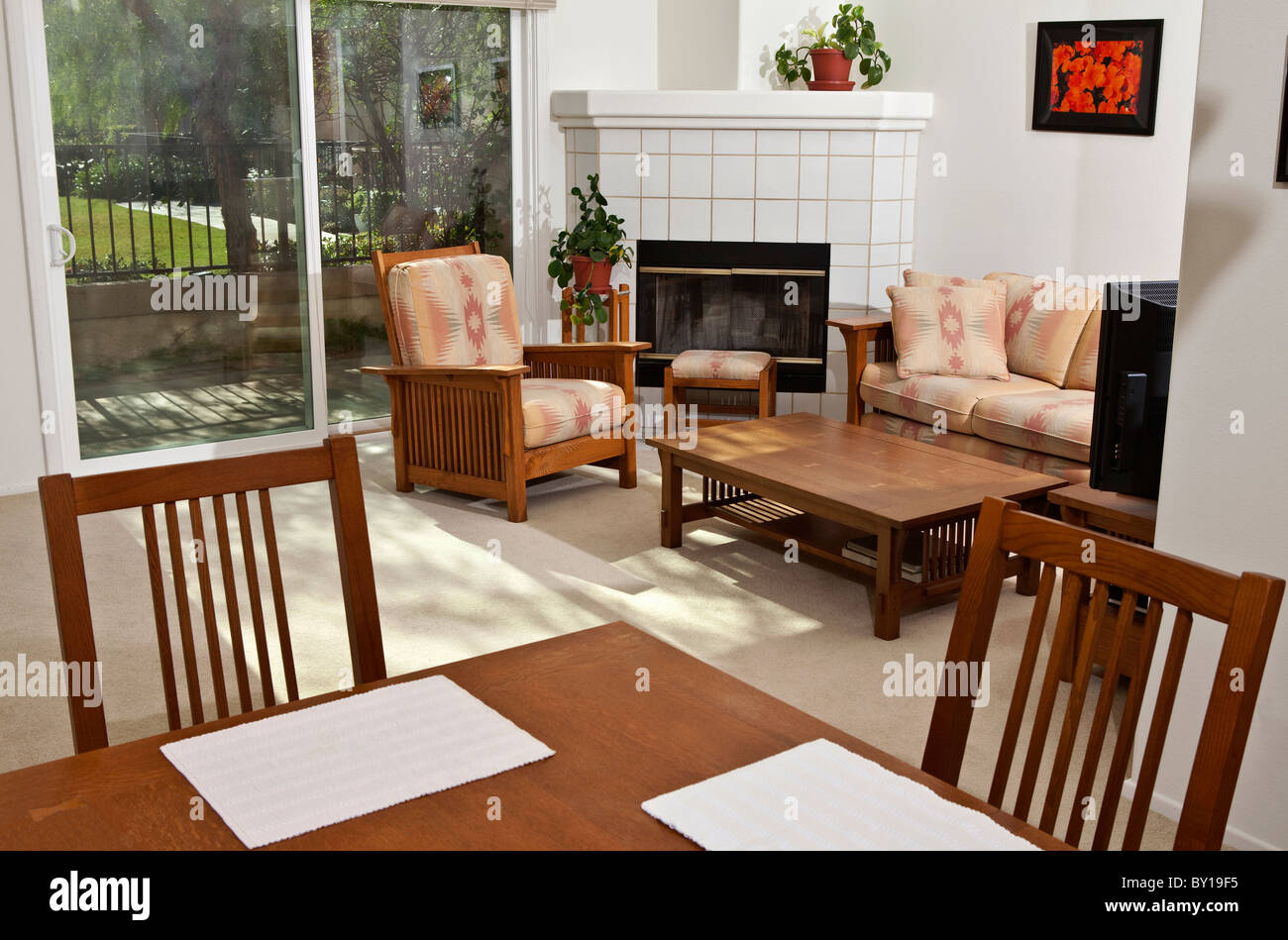 Bright, sunny, California condo living room. The wall art (photos) are the photographer's work and are included - Stock Image