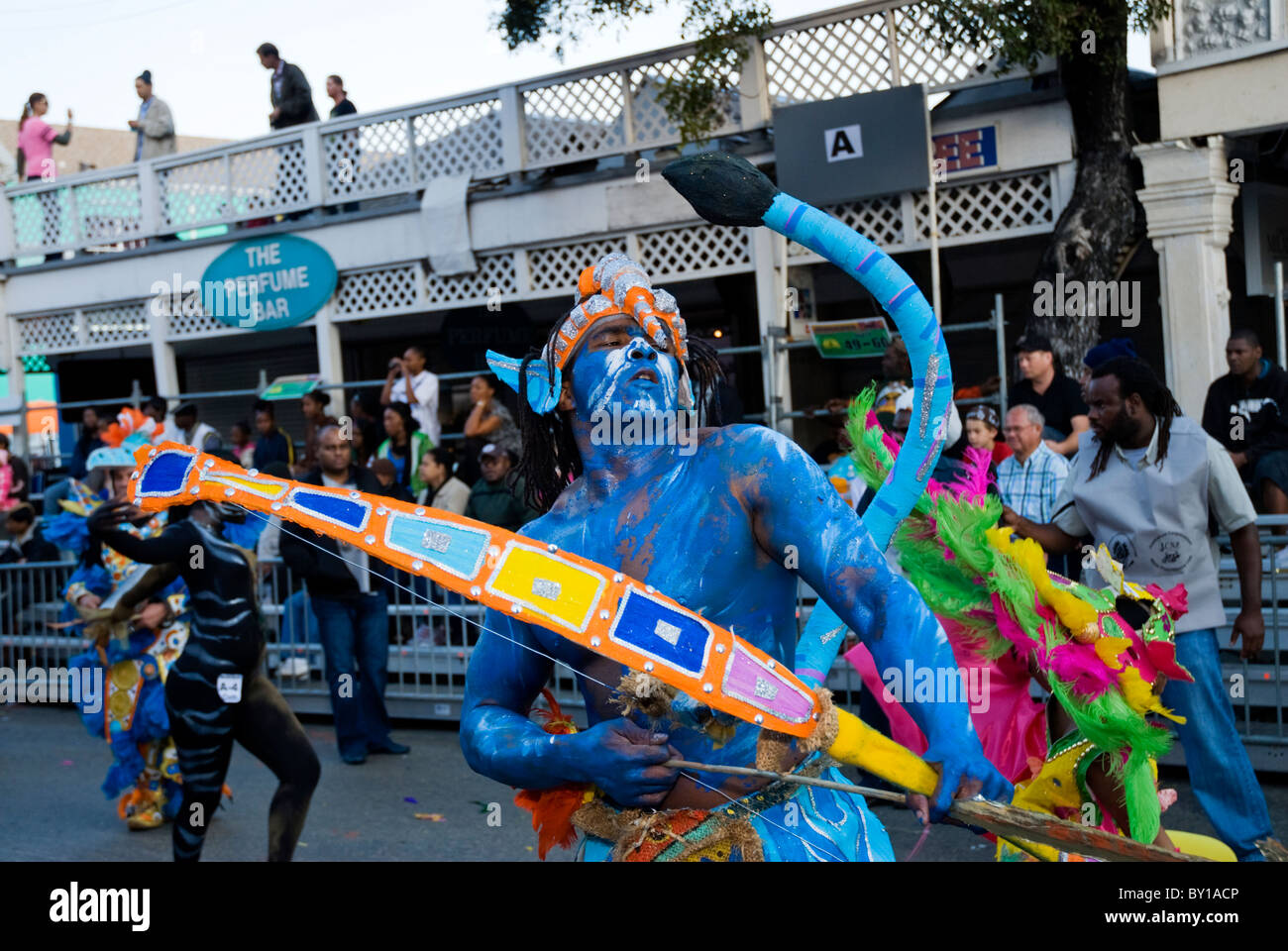 Male Dancer, Roots, Avatar, Junkanoo, New Year's Day, 2011, Nassau, Bahamas - Stock Image