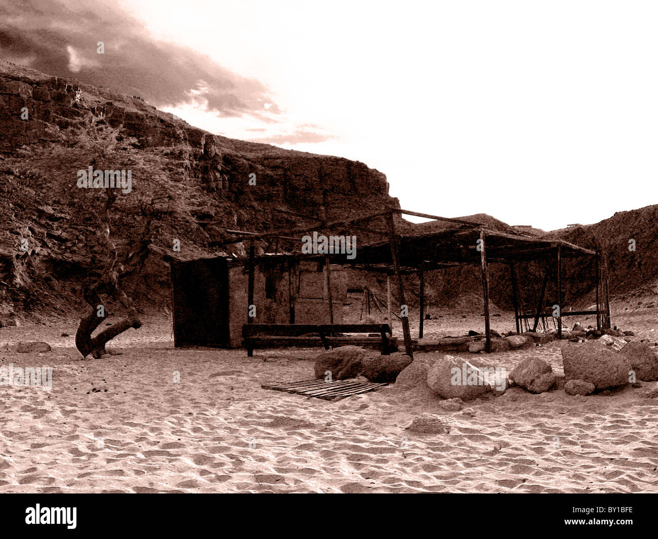A Bedouin rest camp in the Sinai peninsula of Egypt - Stock Image