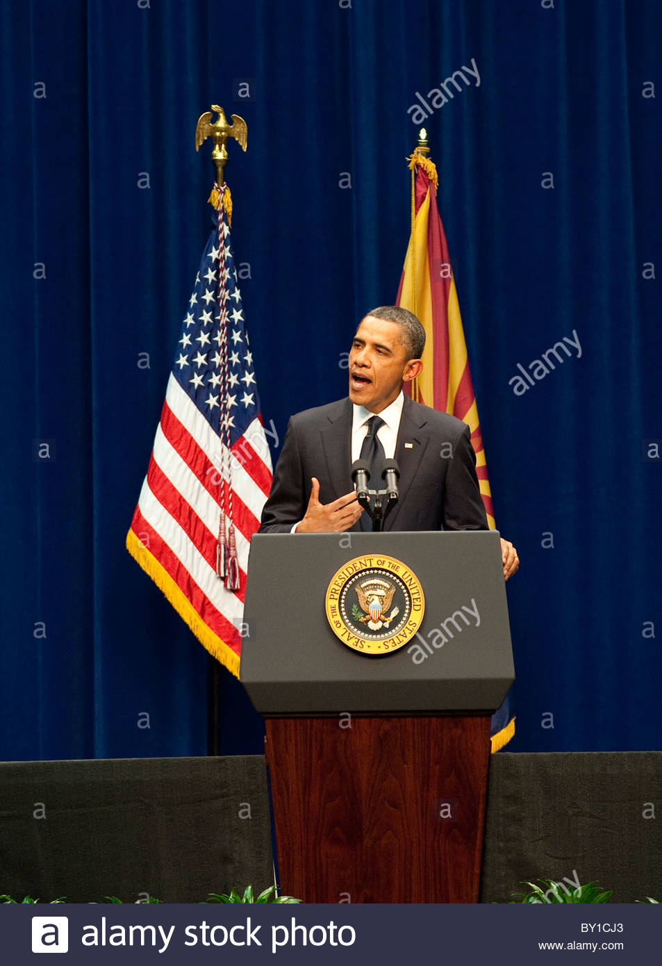 "President Barack Obama speaks during the memorial event, ""Together We Thrive: Tucson and America' at the McKale - Stock Image"