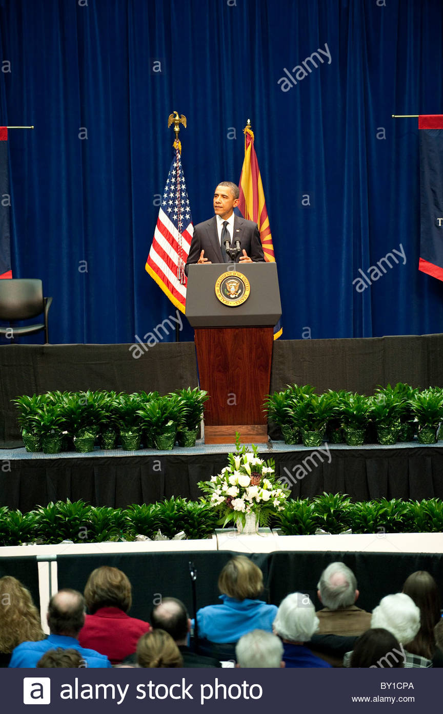 President Barack Obama speaks to victims and familys of the Tucson Tragedy Together We Thrive Tucson and America - Stock Image