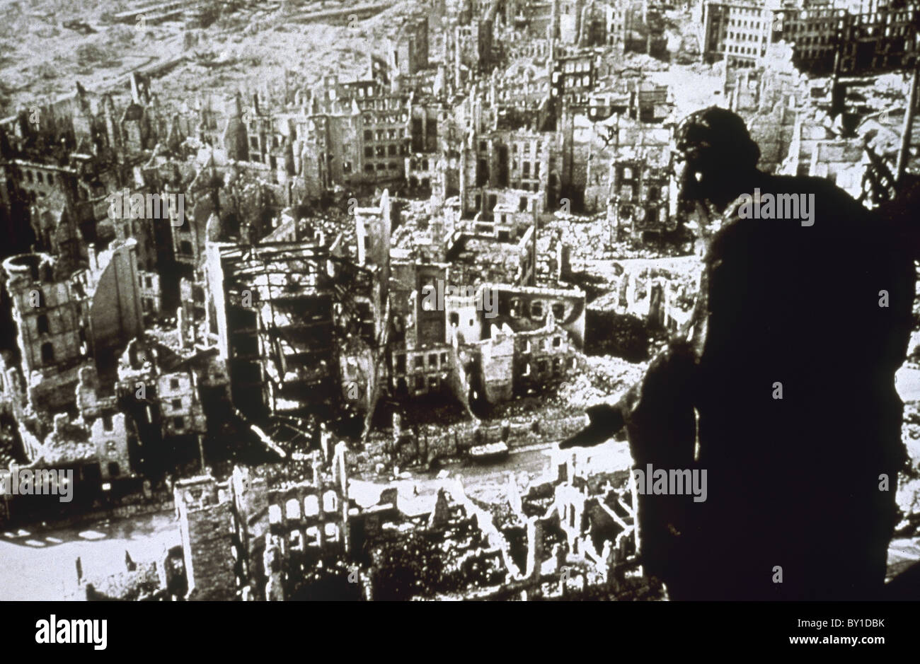 World War II. Dresden destroyed by bombing. - Stock Image