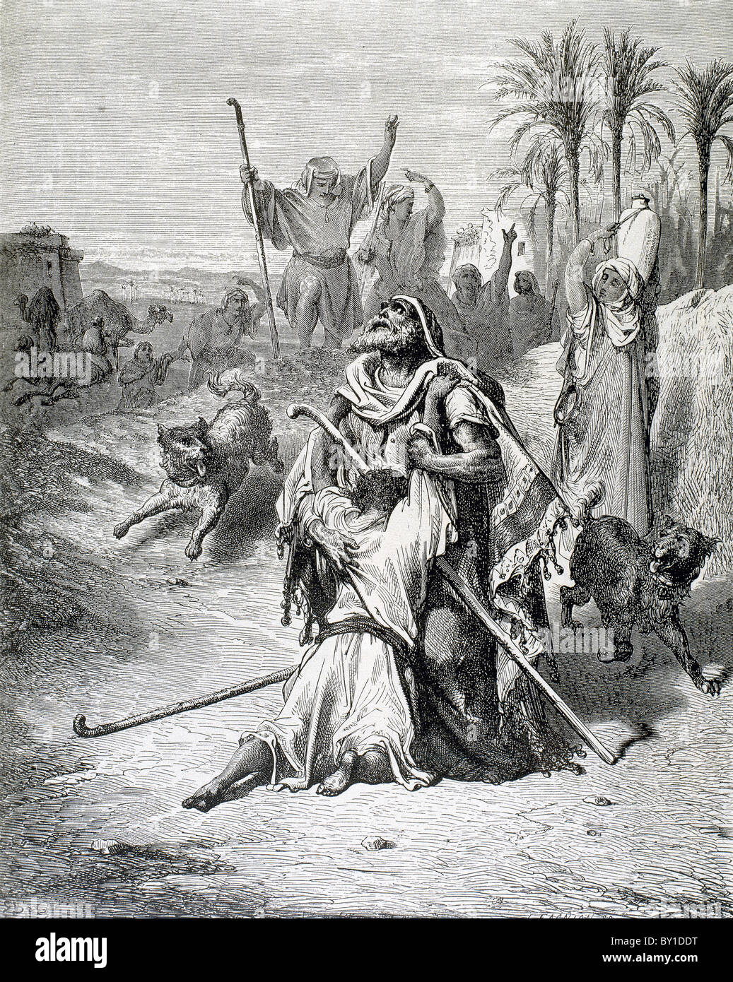Parable of the Prodigal Son. The return of the Progal Son. G. Dore engraving. - Stock Image