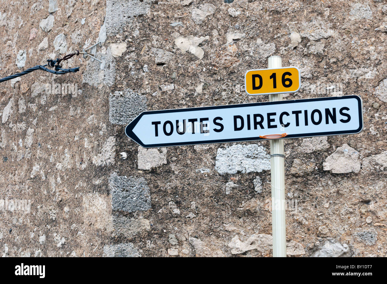 French 'Toutes Directions' (All Directions) road sign. - Stock Image