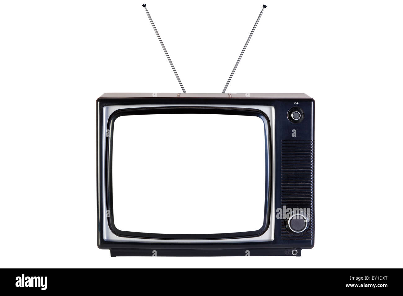 Old Retro Black And White Tv Set Isolated On A White Background