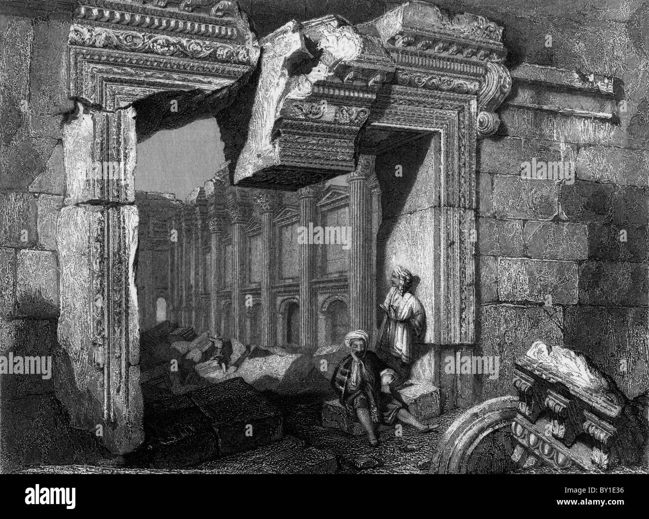 The Gate at the Temple of Jupiter, Baalbec, Lebanon; 19th century Black and White Illustration; - Stock Image