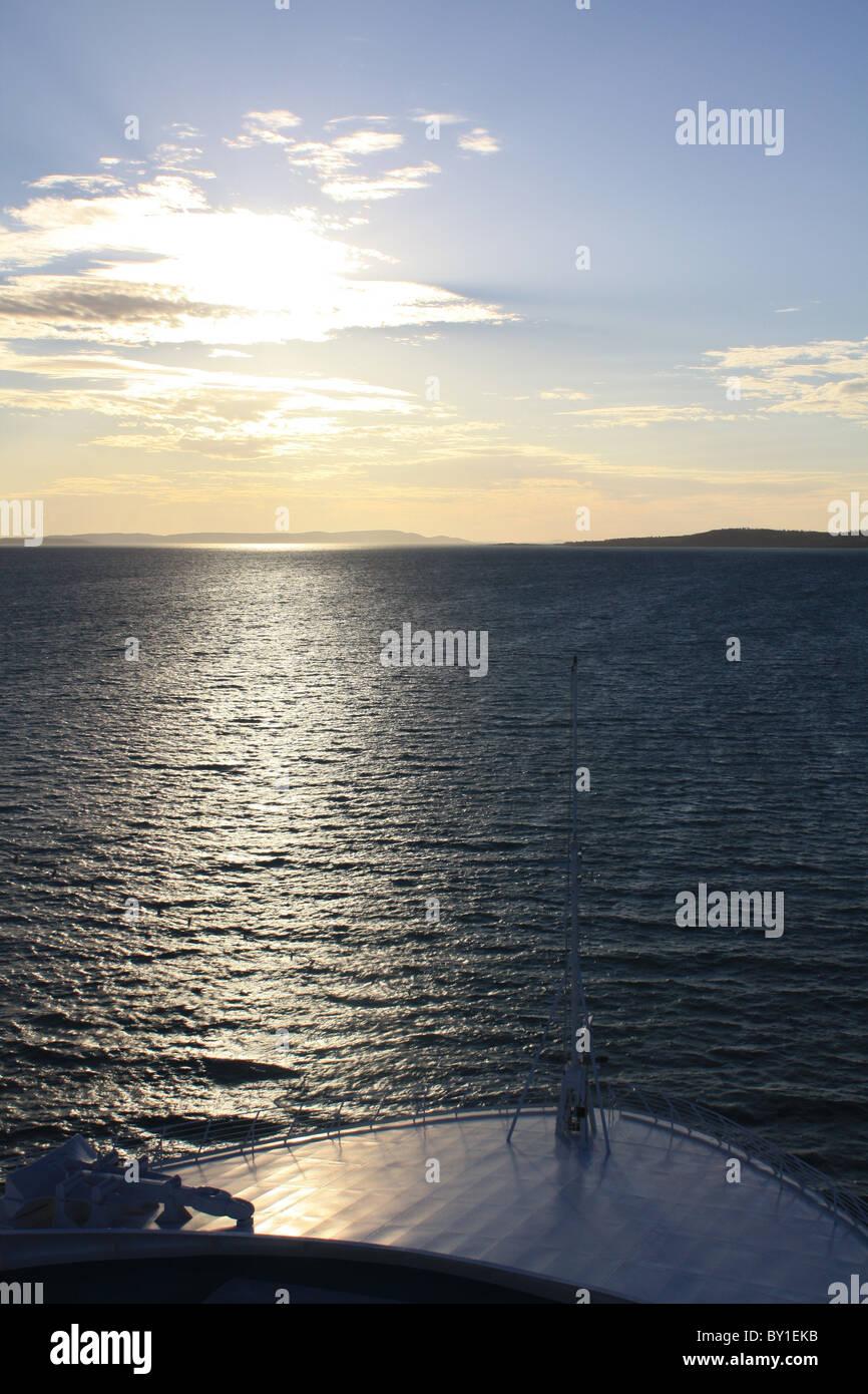 Cruising into Kimberly coast sunset Stock Photo