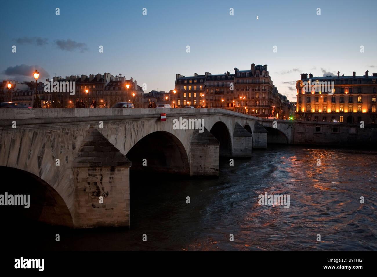 Paris, France, Seine River at Dusk Scenics, Pont Marie Bridge, Ile de la Cité, - Stock Image