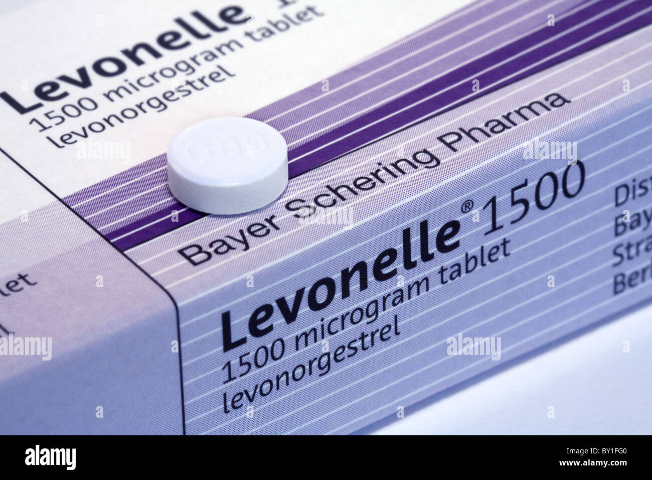 Levonelle Morning after pill for postcoital female contraception, UK made by Bayer Pharmaceuticals - Stock Image