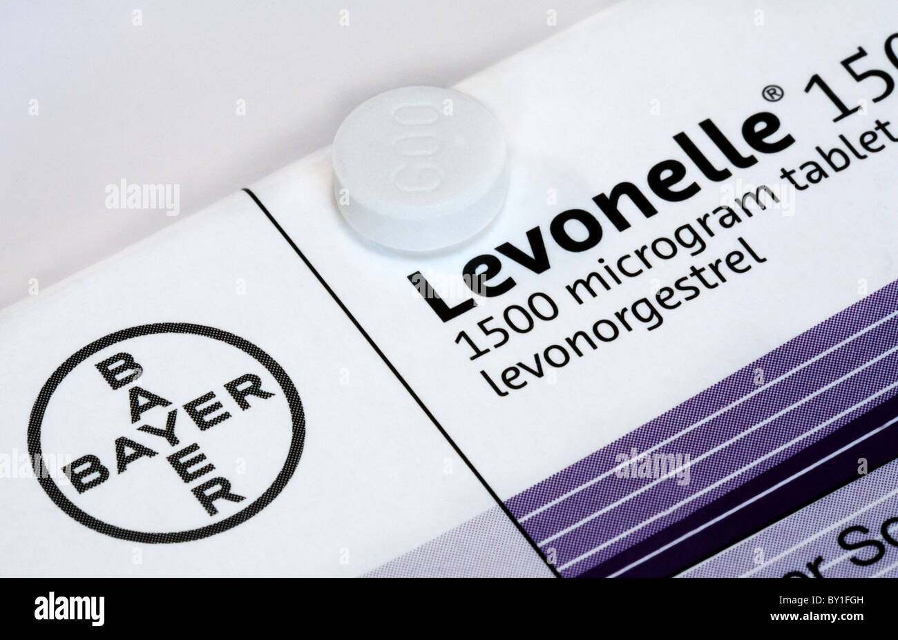 Levonelle Morning after Pill manufactured by Bayer Pharmaceuticals - Stock Image