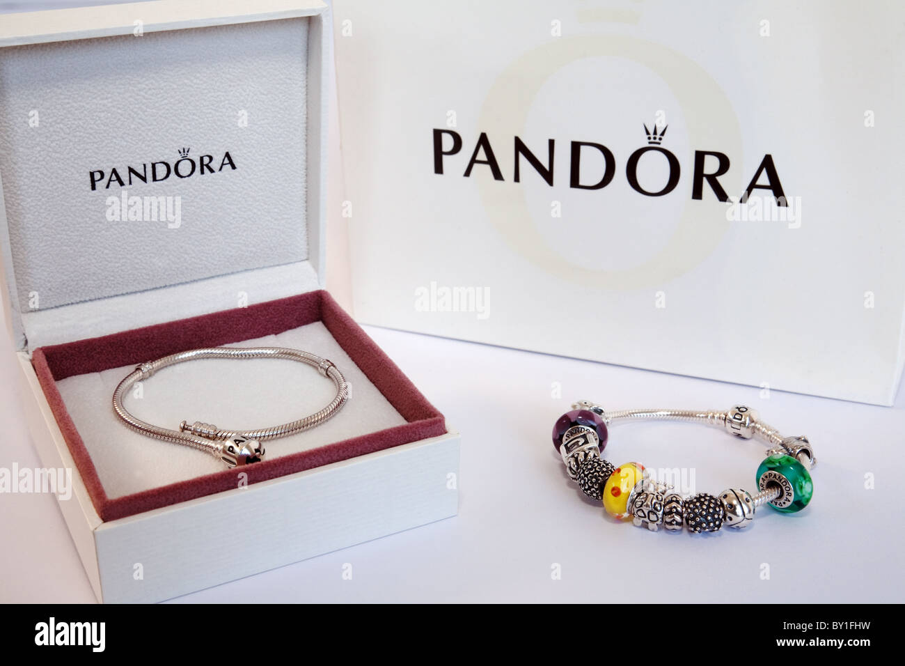 Two Pandora jewelry bracelets and their packaging - Stock Image