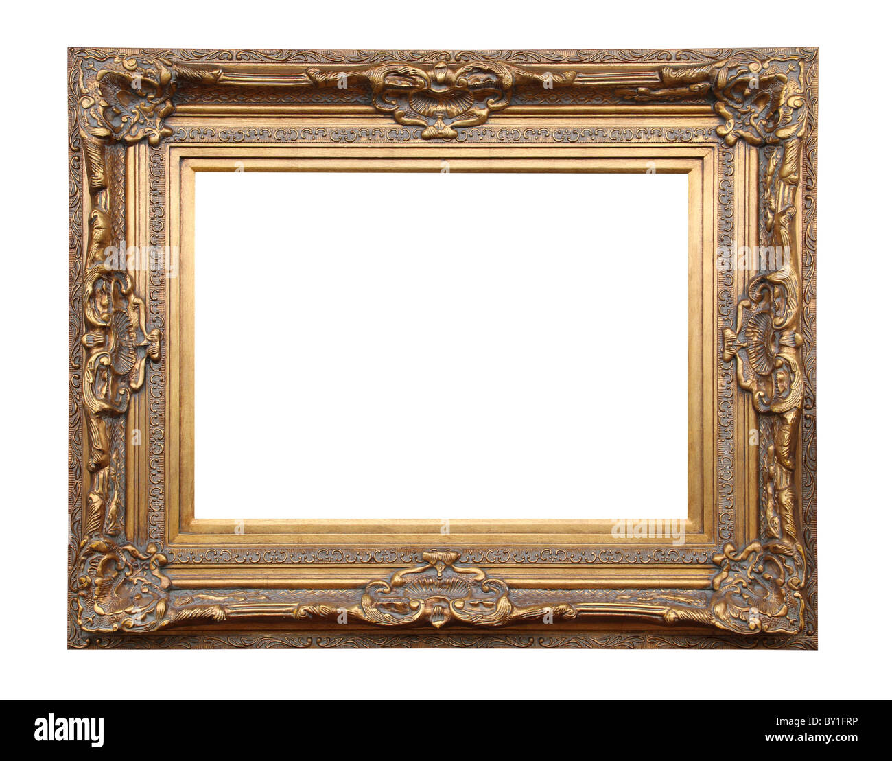 Picture gold frame with a decorative pattern. - Stock Image
