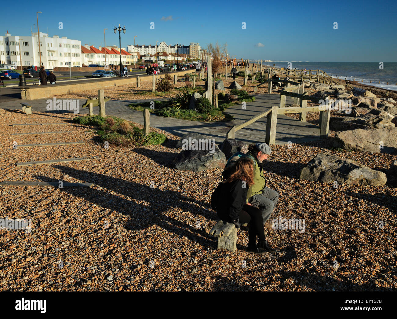 The drought garden Worthing beach. - Stock Image